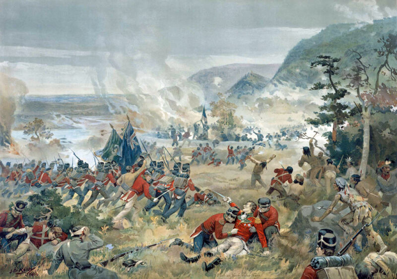 the death of general brock at the battle of queenston heights, 1812