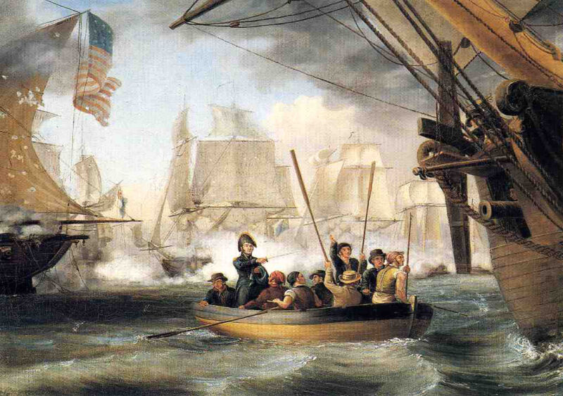 commodore perry leaving the lawrence for the niagara at the battle of lake erie