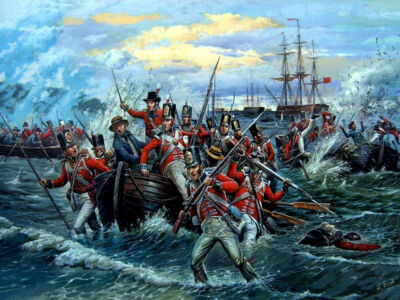 british royal marines disembarking from a task-force fleet in boats at aboukir bay 1801