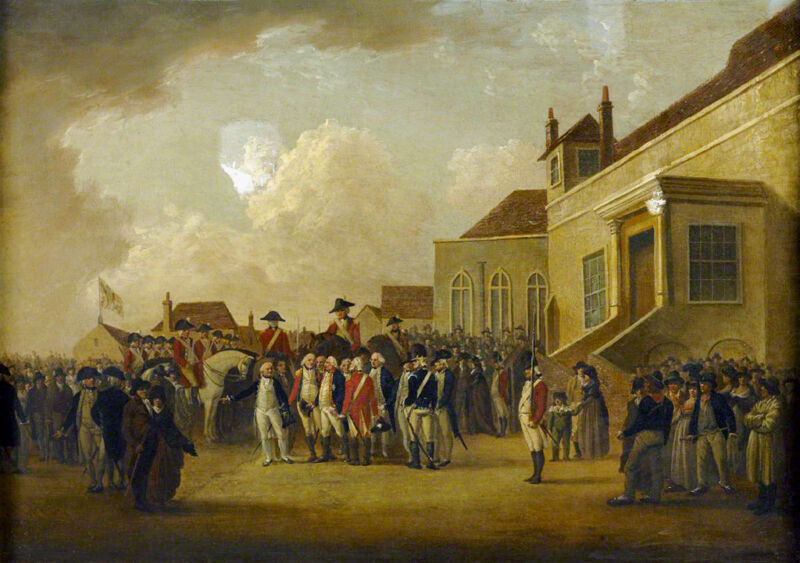 frederick augustus (1763–1827), duke of york, reviewing troops in flanders