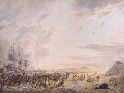 english troops at calantsoog, north holland 1799