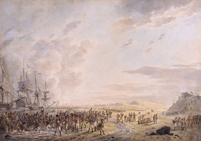 english troops at calantsoog, north holland 1799