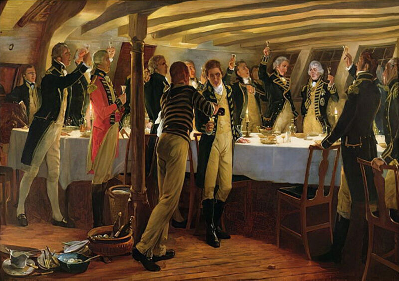 admiral nelson raising a toast to victory with his fellow officers the night before the battle of copenhagen 1st april 1801 1898, by thomas davidson