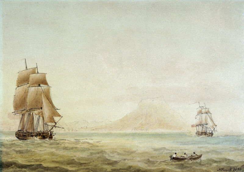 view of st eustatius with the boreas in 1784, by nicholas pocock