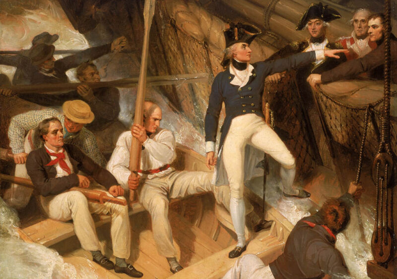 nelson boarding a captured ship, 20th november 1777, by richard westall