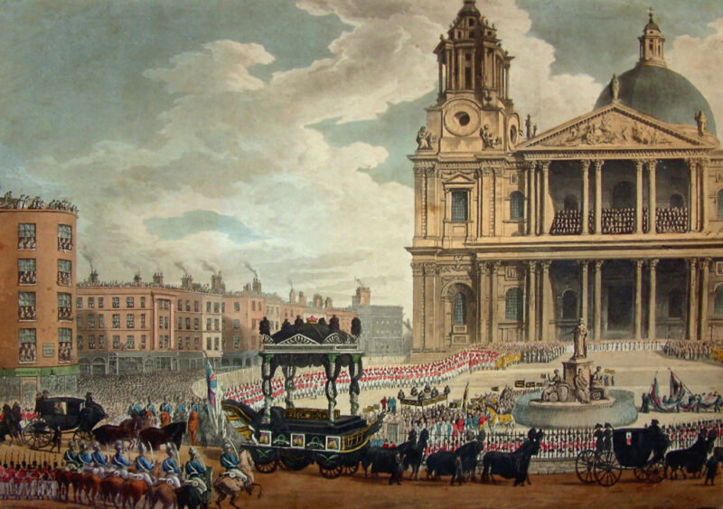 funeral procession of the late lord viscount nelson, from the admiralty, to st. pauls, london, by m. merigot