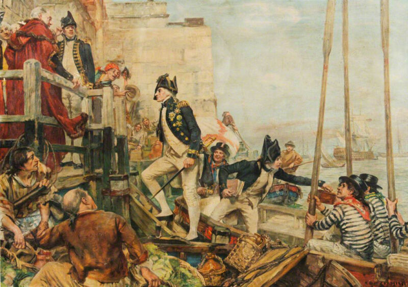 lord nelson arriving at portsmouth from spithead, by arthur david mccormick
