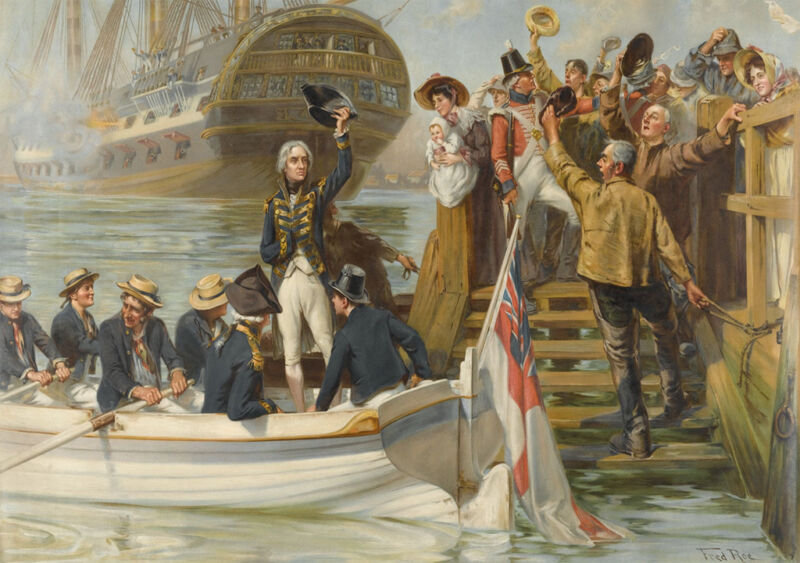 nelson leaving portsmouth to sail for trafalgar on the 'victory', by fred roe