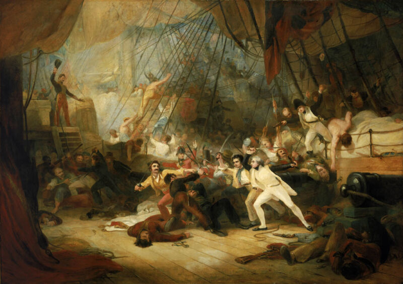 nelson boarding the san josef during the battle of cape st vincent, by george jones