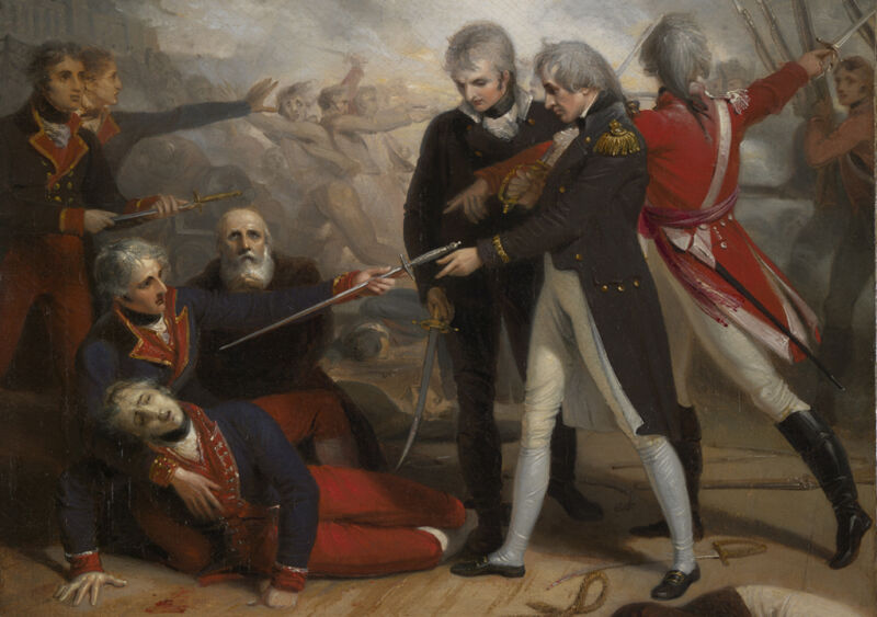 nelson receives the surrender of the san nicholas at the battle of st vincent, by richard westall
