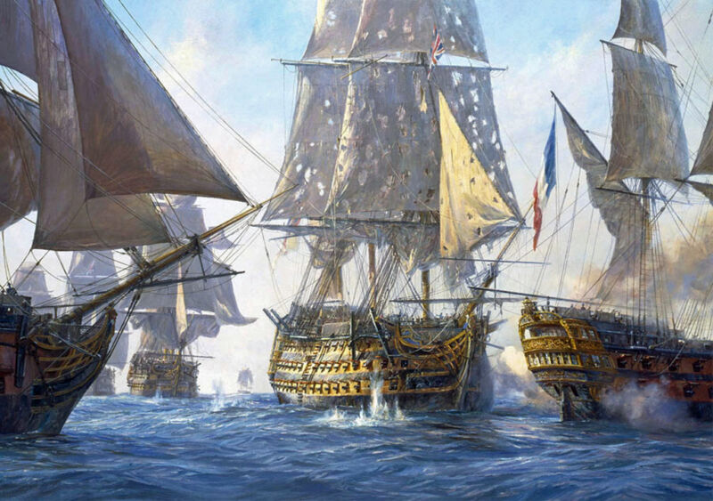 victory breaks the enemy line at trafalgar, 21st october 1805, by geoff hunt