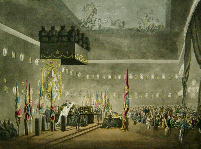 the remains of lord viscount horatio nelson lying in state in greenwich, by m. merigot