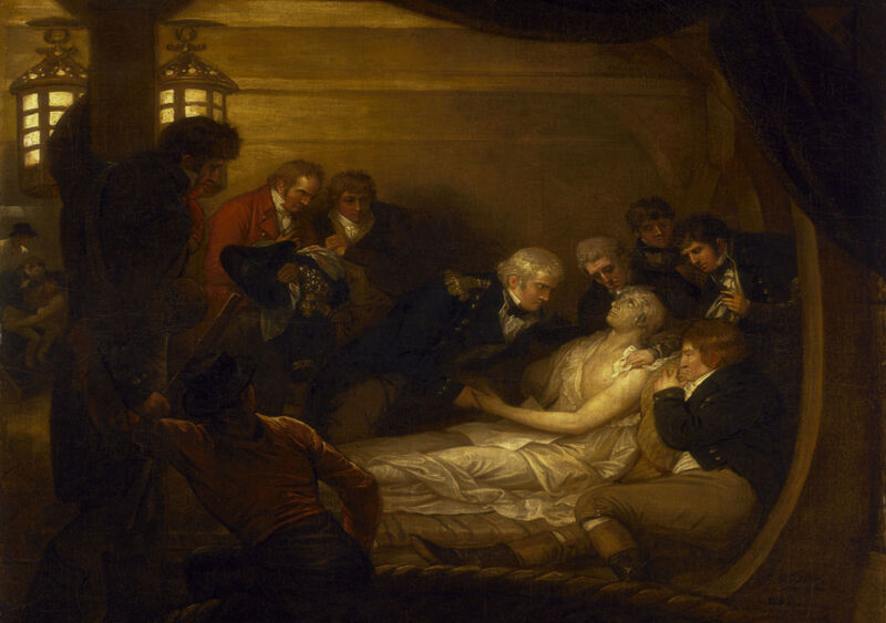 the death of lord nelson in the cockpit of the ship victory, by benjamin west
