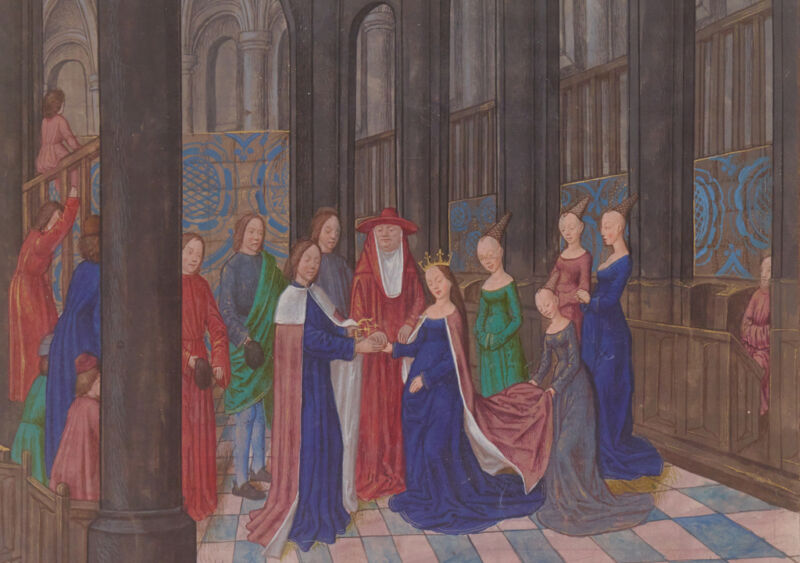 edward iv's marriage to elizabeth woodville, from the illuminated manuscript anciennes chroniques d'angleterre