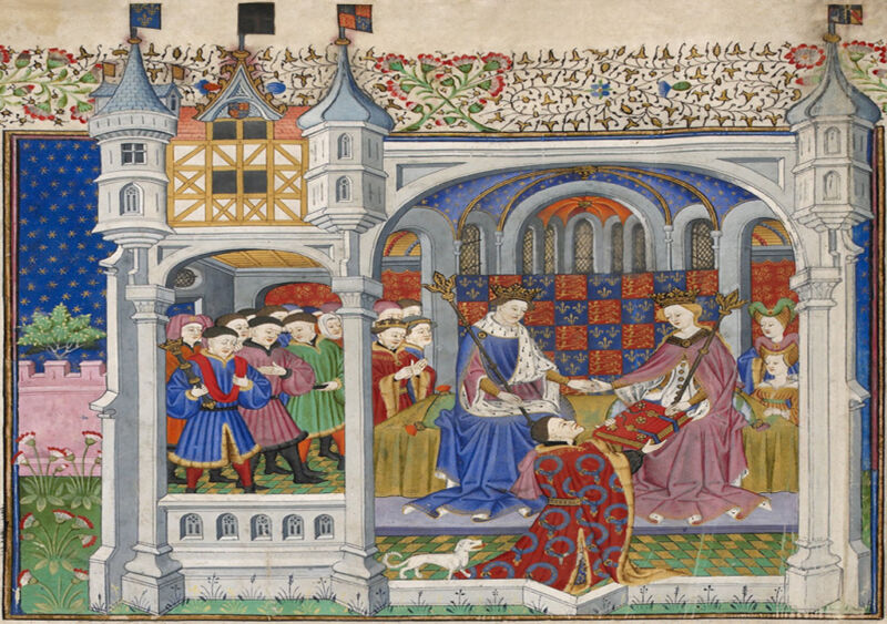 john talbot, 1st earl of shrewsbury presenting the talbot shrewsbury book to queen margaret of anjou seated beside king henry vi