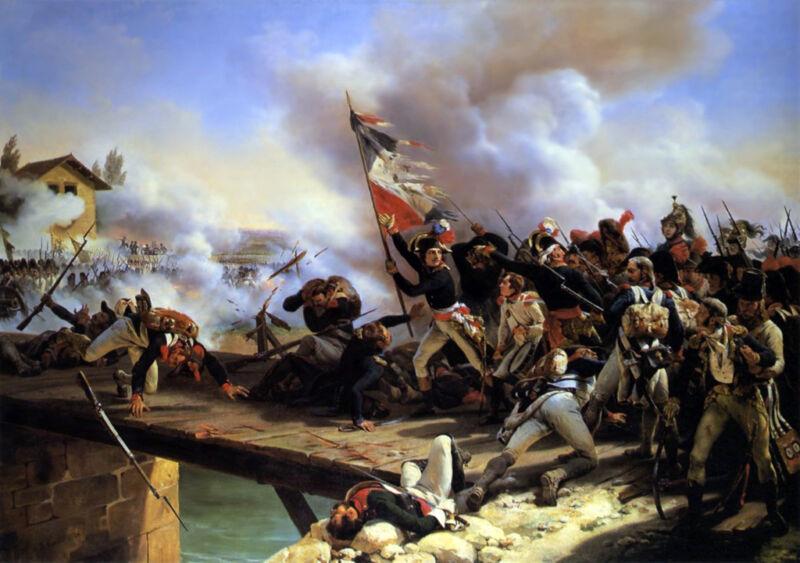 napoleon bonaparte leading his troops over the bridge of arcole