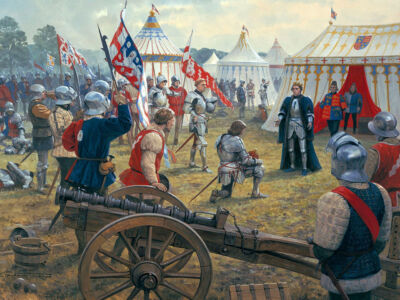 Earl of Warwick kneels to King henry vi after the kings capture by the yorkists at the battle of northampton on 10th july 1460