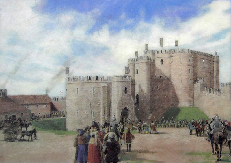 artists impression of the keep and barbican of sandal castle in 1300