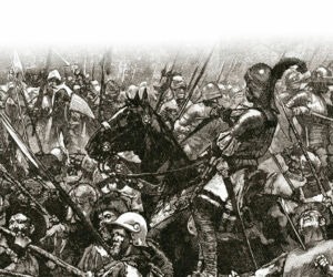 german mercenaries being felled at the battle of stoke field in 1487