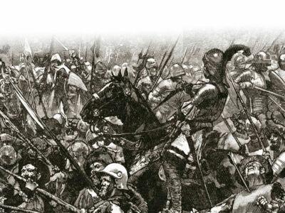 german mercenaries being felled at the battle of stoke field in 1487