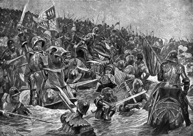 lancastrians being slaughtering in the river wharfe at towton 1461