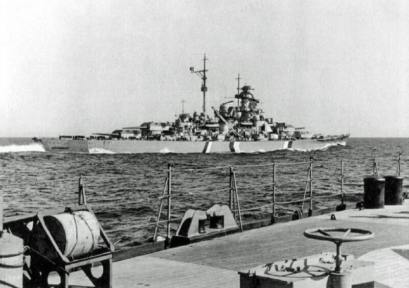 bismarck at the battle of the denmark strait, 1941