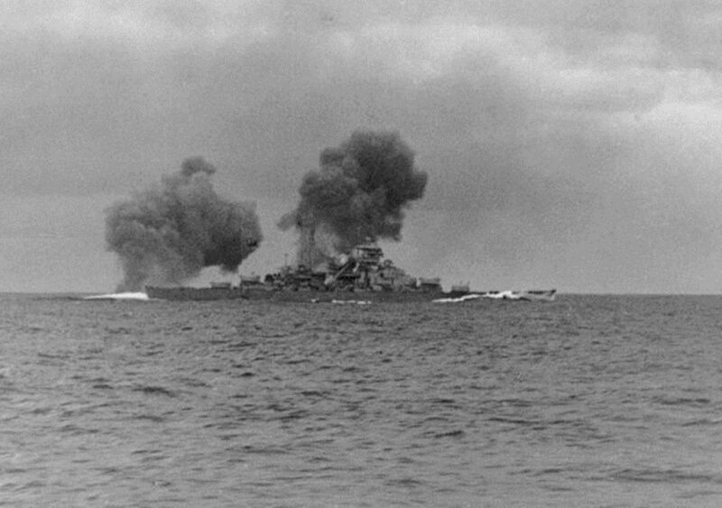 bismarck fires on hms prince of wales during the battle of the denmark strait