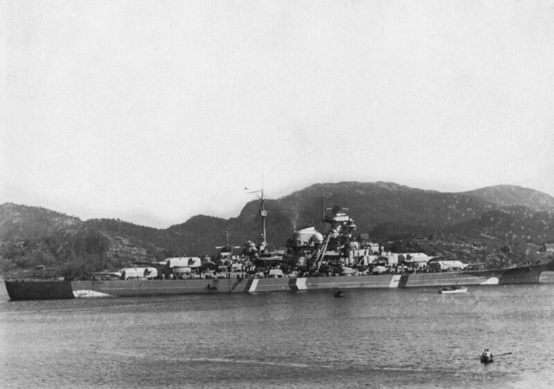 bismarck in grimstadfjord in norway, 21st may 1941