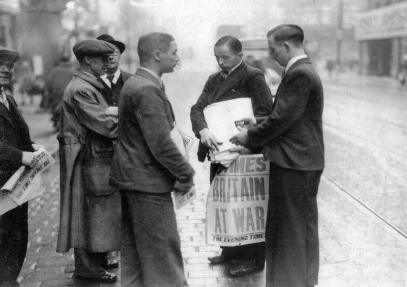 the evening times announces war, 1939