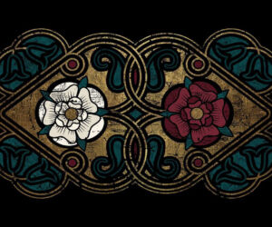 the white rose of the house of york and the red rose of the house of lancaster, combined to make the dual coloured tudor rose.